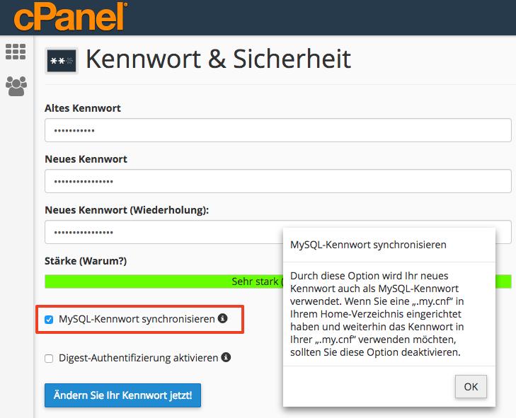 cPanel Passwort ändern