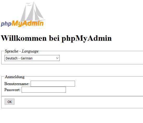 phpMyAdmin Fehler